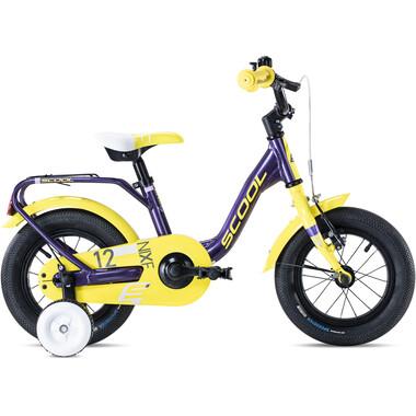 """Vélo Enfant S'COOL NIXE Alu 12"""" Violet/Jaune 2020"""
